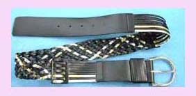 china wholesale supplier fashion Wholesale fashion belt - black and gold weave belt