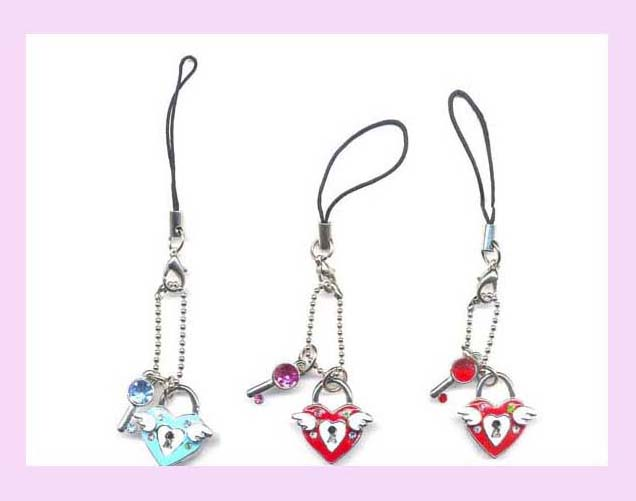 china export product wholesale cell phone accessory - cell phone wrist strap with heart lock charm