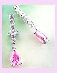 china export company fashion earring - pink zircon fashion dangle earring