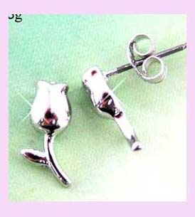 china free trade fashion earring - silver rose fashion earring