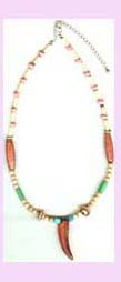promotional beaded jewlery wholesale - beaded necklace with various colors and tooth like pendant