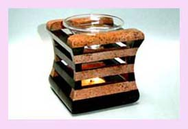 wholesale home decor distributor - glass oil burner set in wooden holder available